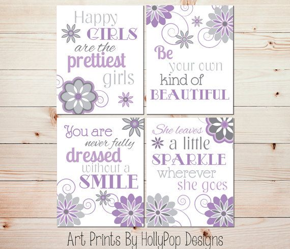 Girls Room Decor-Purple Gray Art Prints-Toddler Girls Room-Baby Girl Nursery-She Leaves a little Sparkle-Tween Girl Wall Decor Prints-#0888