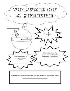 Volume of a Sphere Doodle Page/Graphic Organizer