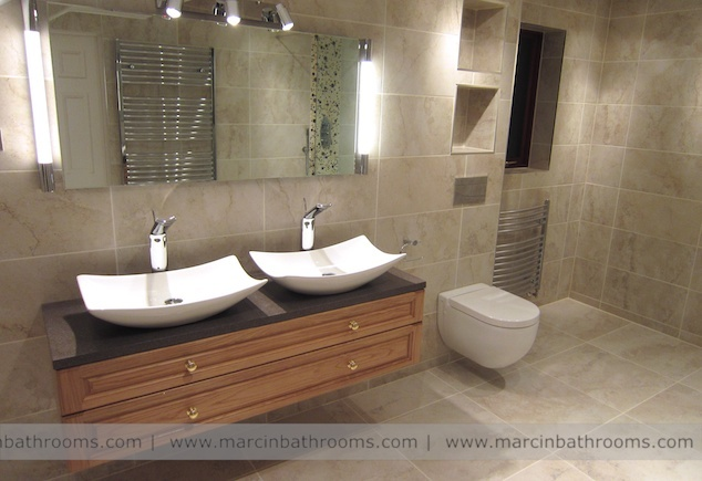 Ensuite double basin vanity unit need larger benchtop for Muebles rodero