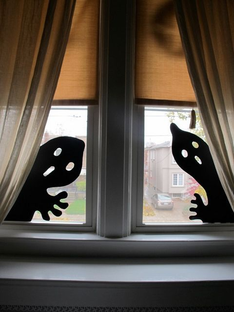 easy ghost silhouettes for Halloween window decorations