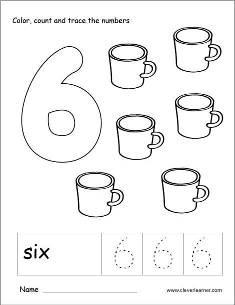 Number 6 tracing and colouring worksheet for kindergarten
