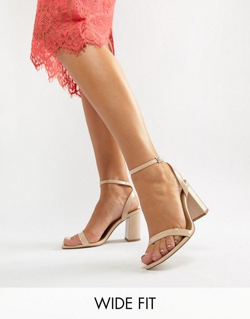 e90bc07752f DESIGN Wide Fit Hong Kong Barely There Block Heeled Sandals in warm ...