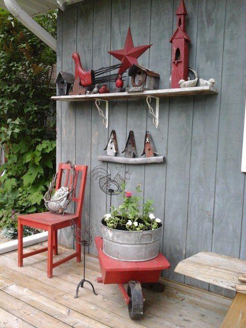 Rustic Flower Displays Along The Workshop and Backyard Garden