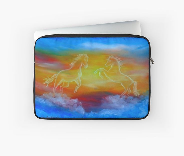 Laptop Sleeve,   horses,sky,blue,colorful,magical,majestic,impressive,fantasy,unique,cool,beautiful,trendy,artistic,unusual,accessories,design,items,products,for sale,redbubble