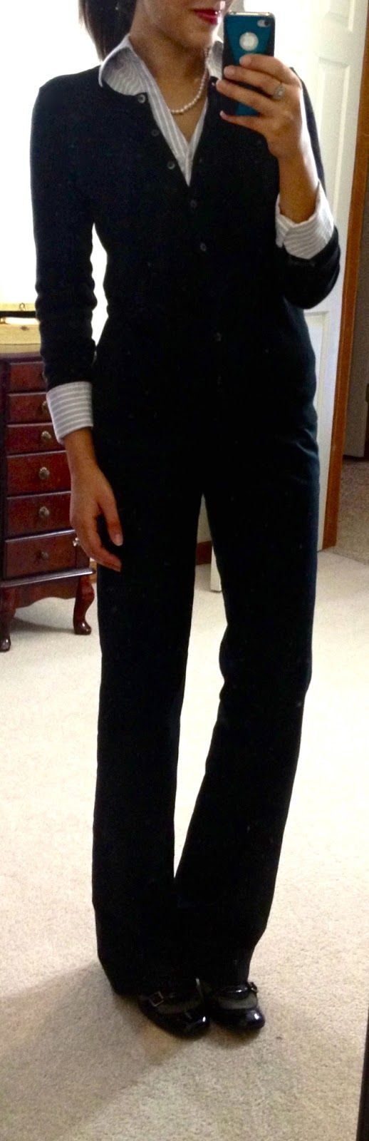Express pinstriped button-up, Target cardi, Banana Republic outlet Martin Wool Trousers, pumps via DSW, gifted pearl necklace