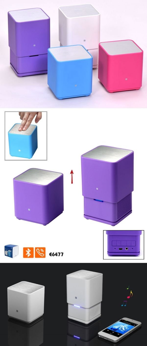 E6477 Square Pop-Up Bluetooth Speaker Features: *  Bluetooth Speaker, Bluetooth 3.0 + EDR *  Hands Free for anwering phone calls *  Music playback, volume +/-, Previous/Next, support Mobile Phone, PC, MP3, MP4 & so on *  Working Distance: 10M *  Frequency Response:  100Hz- 20000Hz *  Speaker Power Output: 2*2.2 W, maximum 2*2.7W *  S/R:  60db *  Speaker Size: φ40mm×2 *  Impetance: 4Ω *  Imput:  DC 5V *  Charging time:  2.5H,  Working time: 10H,  Standby time: 20H *  Battery:  800mAh lithium…