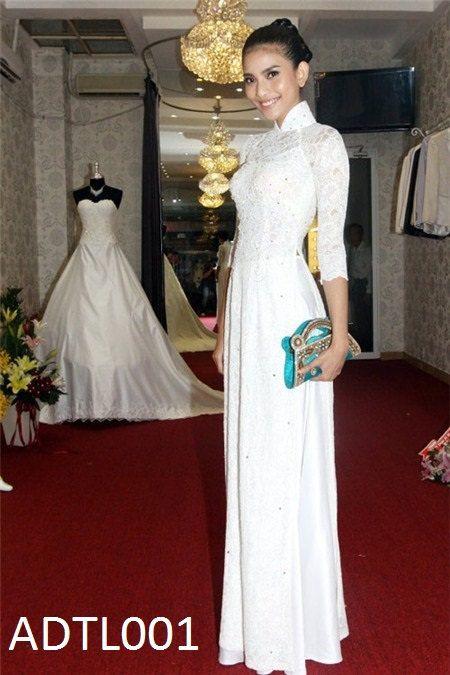 vietnam traditional dress long dress stye ao dai viet by phuongdo, $89.99