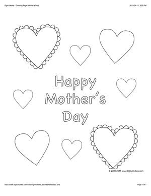Mother's Day coloring page with a picture of hearts to color