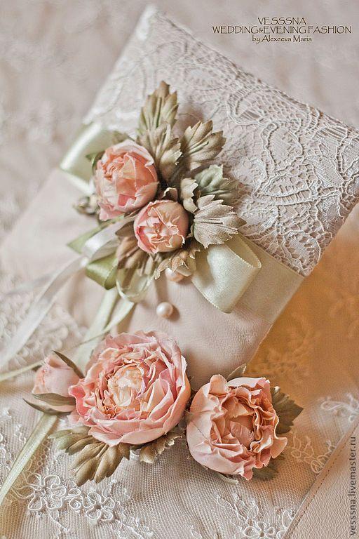 """""""Чайная роза"""" комплект свадебных аксессуаров. Цветы из шелка - кремовый, цветы из шелка / Weddings flowers"""