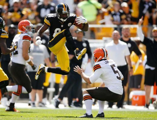 Antonio Brown of the Pittsburgh Steelers attempted to hurdle Spencer Lanning of the Cleveland Browns and kicked him in the face instead. Brown was flagged for unnecessary roughness penalty during the second-quarter return at Heinz Field on Sept. 7, 2014 in Pittsburgh.