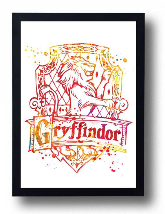 Gryffindor Watercolor Art Print Harry Potter Watercolor Hogwarts School Inspired Art Hogwarts Harry Potter Watercolor Watercolor Hogwarts Watercolor Art Prints