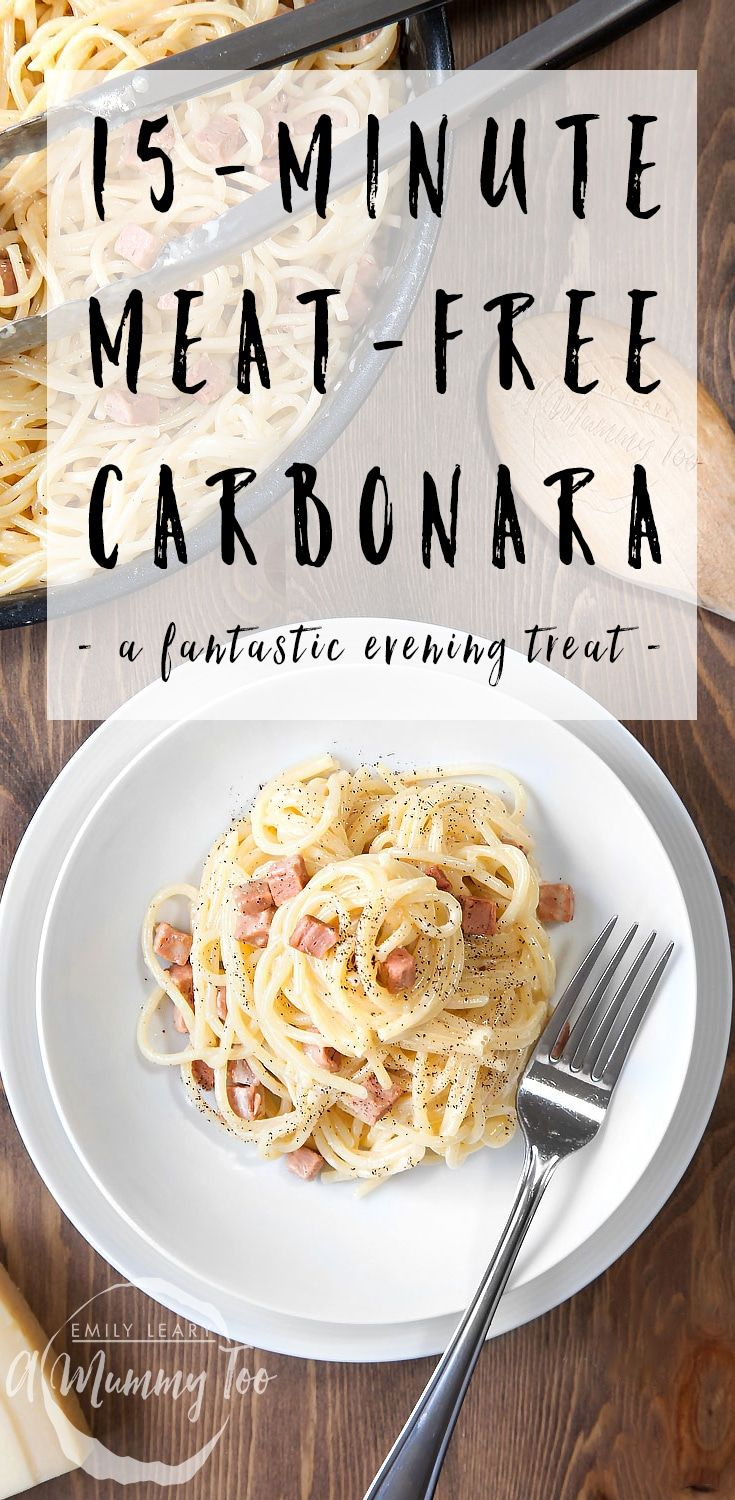 A rich, creamy and quick to make vegetarian carbonara with meat free bacon lardons for an extra kick of deliciousness.