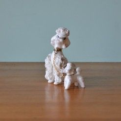 Vintage ceramic Spaghetti white poodle and puppy