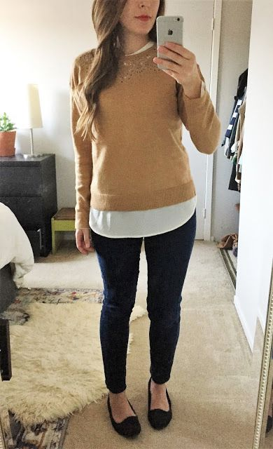 Layered lace collar, camel sweater and silk blouse with basic skinny jeans and black smoking slippers.
