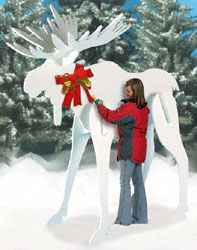 Gigantic White Moose Wood Pattern He will definitely get attention displayed in your yard this Christmas Season. All pieces just slide together-no screws required! #diy #woodcraftpatterns