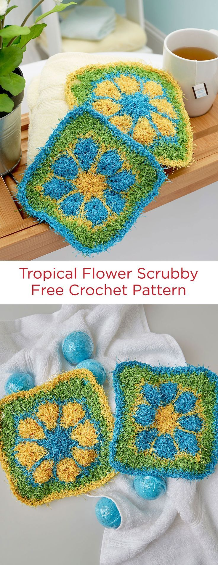 Tropical Flower Scrubby Free Crochet Pattern in Red Heart Scrubby yarn -- This fun crocheted square is perfect for making a scrubby to use in your at-home pseudo spa. Choose colors that are bright or more peaceful…whatever makes you happiest!