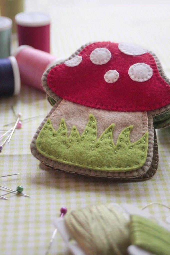 stinkin cute! mushroom shaped needlebook