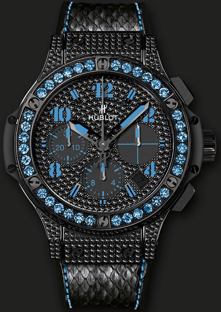Hublot Men's Big Bang Black Fluo Chronograph adorned with 430 black diamonds (2.3 carats) and 36 sapphires, limited edition