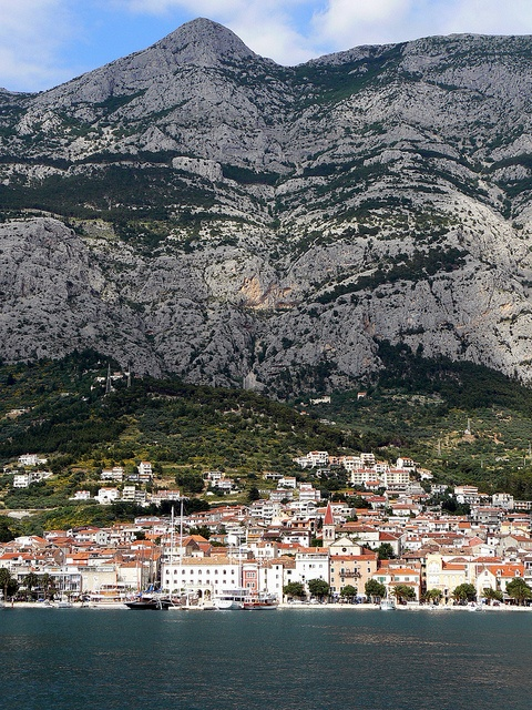 Makarska at the foot of Biokovo mountain
