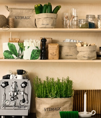 Utility storage ideas - shelving with storage bags from H and M