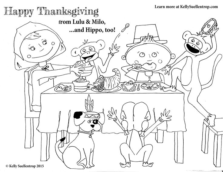 Free Printable Thanksgiving Coloring Sheet - Happy Thanksgiving from Lulu & Milo  Find out more about Lulu & Milo, characters in the children's book Absolute Mayhem, at KellySuellentrop.com