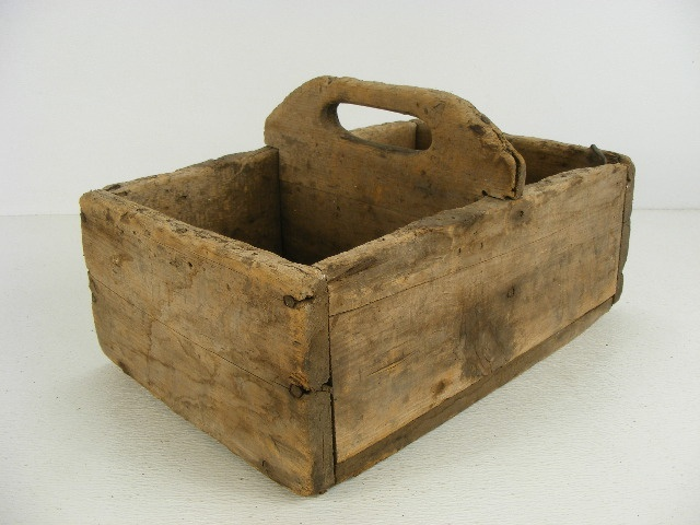 antique wooden tote