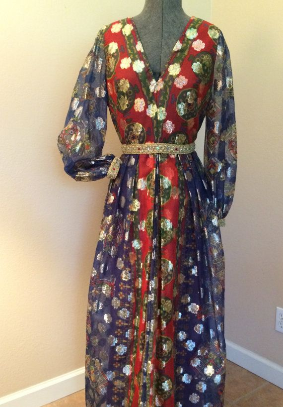 Late 60's-70's Desinger Futura Couture of New York Amazing Metallic Maxi Dress