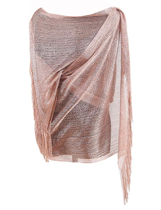 Rose Gold Missshorthair Womens Wedding Evening Wrap Shawl Glitter Metallic Prom Party Scarf With Evening Shawls And Wraps Scarf Women Fashion Shawls And Wraps