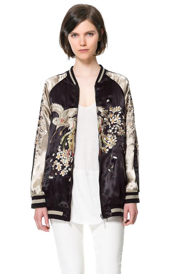 EMBROIDERED BOMBER JACKET from Zara | 刺繍、ファッション、服装