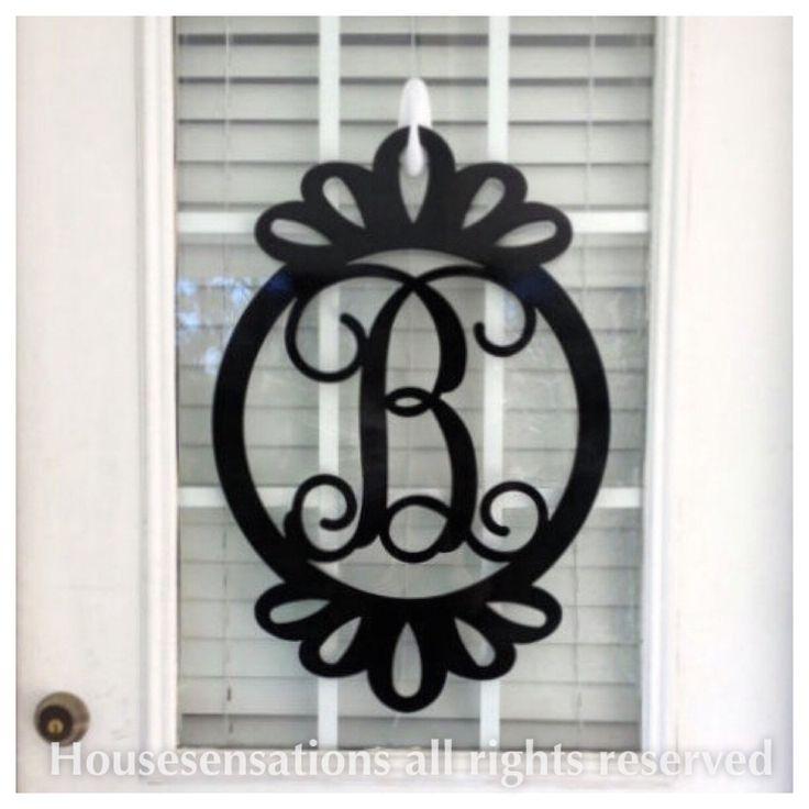metal monogram door hanger, monogrammed wreath, metal monograms, metal initial door hanger, front door monogram, double door wreath,  SCAL26 by housesensations on Etsy https://www.etsy.com/listing/228013276/metal-monogram-door-hanger-monogrammed