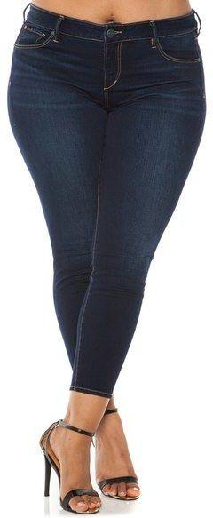 SLINK Jeans Stretch Ankle Skinny Jeans (Plus Size)