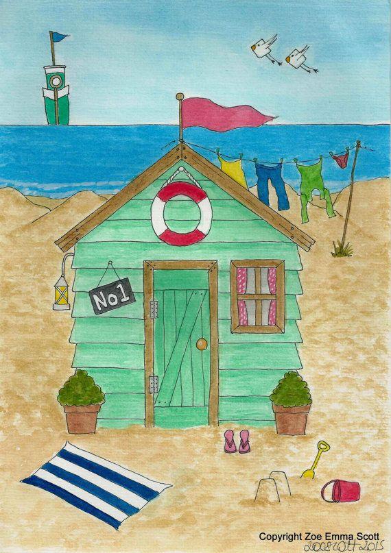Whimsical Beach Hut No.1 Print by Zoe Emma Scott by ZoeEmmaScott