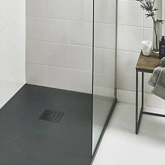 The Shower Tray Company Rectangular Shower Tray Grey Slate-Effect 1500 x 900 x 27mm   Shower Trays   Screwfix.com