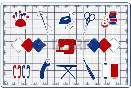 Quilting, Patchwork, icone per cucire sul taglio Mat per farlo te progetti: pins, puntaspilli, ago, filo, ferro, forbici da ricamo, bobine, campioni di stoffa, macchina da cucire, spille di sicurezza, taglierina rotativa, asse da stiro, asole, bobine. photo