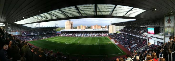 Panorama of West Ham's home - The Boleyn Ground (aka Upton Park).    Photo by Mark Bright.