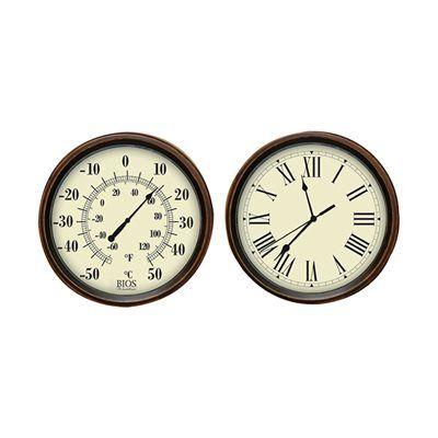 Bios 641BC Decorative Thermometer and Clock Set