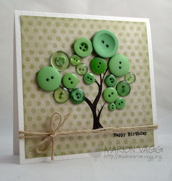 Button Tree, Tree-men-dous Good Idea For Dads Birthday Card - Click for More...