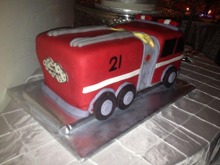 Grooms wedding cake fire truck fire engine fire department.