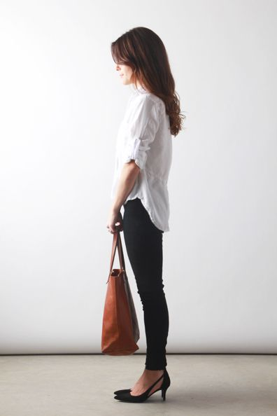 White Button Down Shirt with black Jeans and brown Bag - School Appropriate Outfit