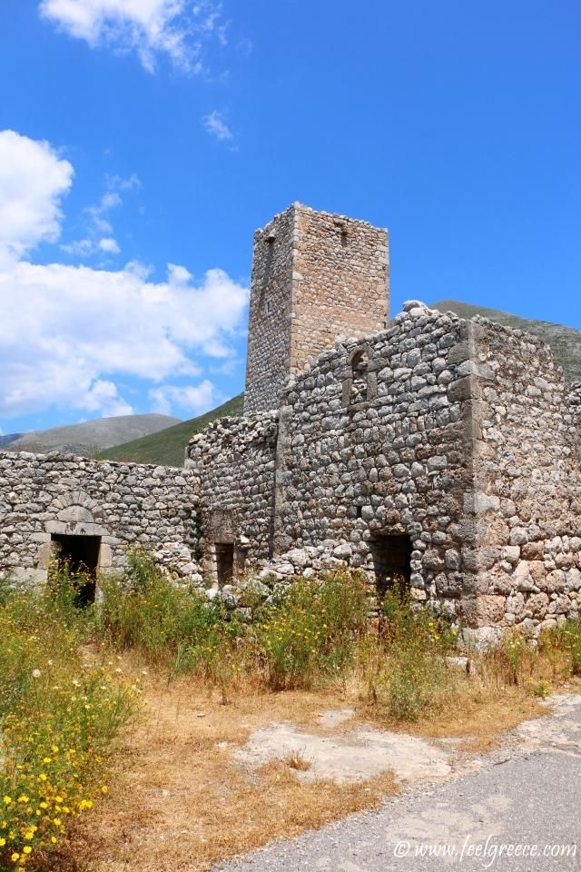 The rising Maniot tower; photo from Agios Georgios Minas, Mani Region