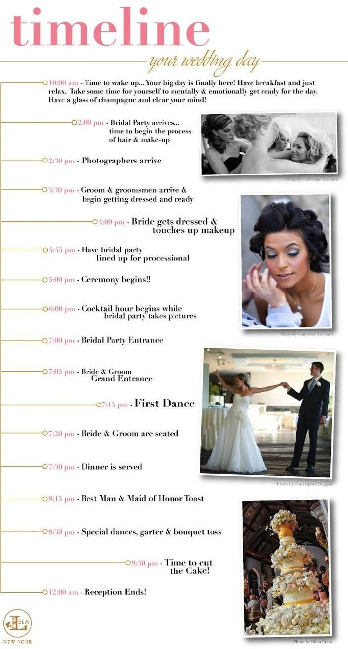 From the beginning of the wedding day to the end, have your ducks in a row. Plan every single event (from the first look to the first dance) so you can move through the day without any major hiccups. Here's another helpful guide to keep in your pocket as you plan your wedding reception timeline. -  Lela New York