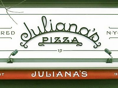 Juliana's Pizza (formerly known as Grimaldi's), designed alongside Louise Fili, has made its long-awaited debut.