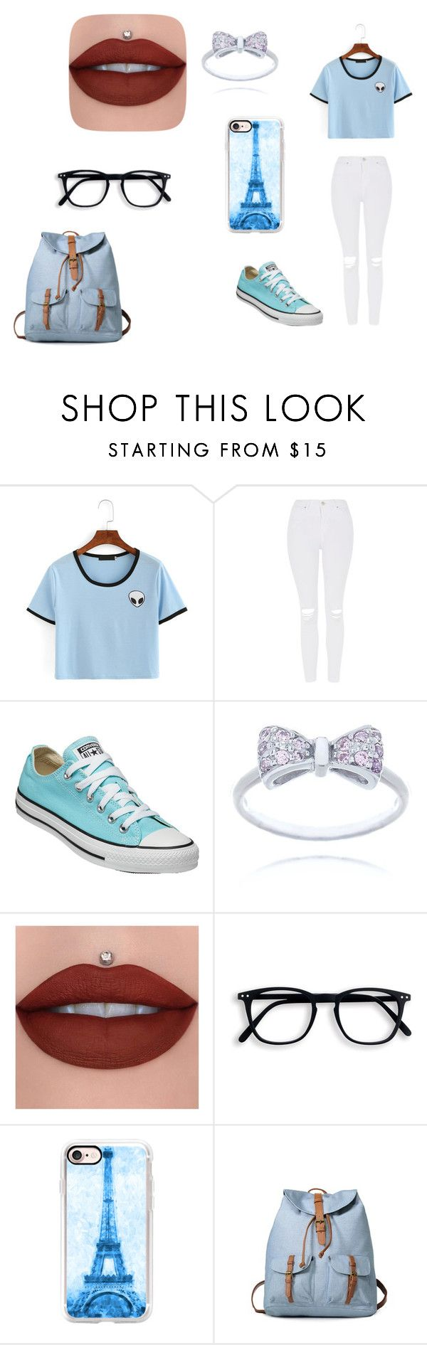 """Baby Blue"" by deaira2705 ❤ liked on Polyvore featuring Topshop, Converse and Casetify"