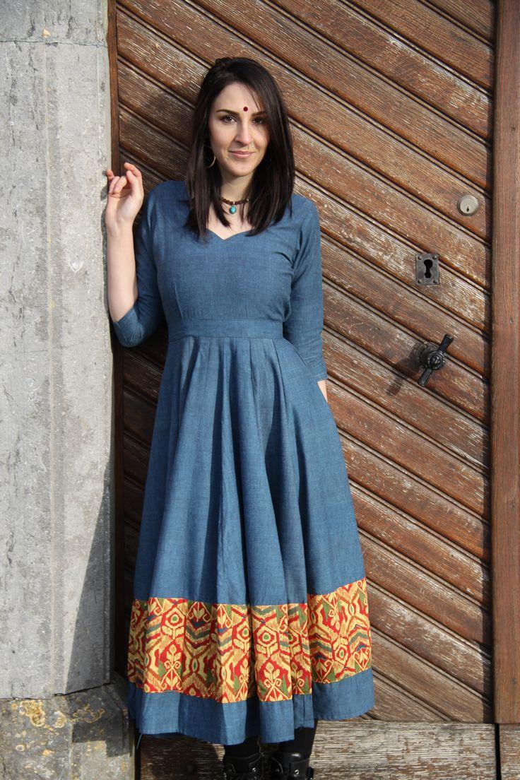 Raw Cotton Blue Anarkali Dress made by One Green Mango