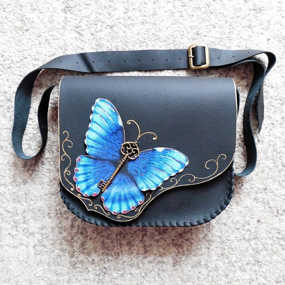 Morpho Butterfly bag Blue Butterfly bag Painted butterfly purse Butterfly crossbody bag Unique painted bag Unusual bag Unique leather purse