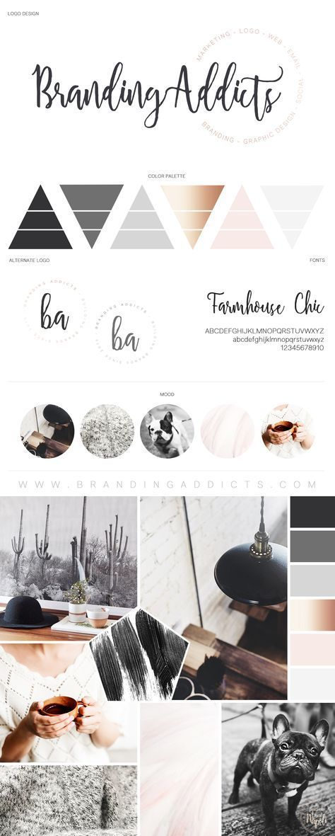 Branding Addicts Official Brand Board. Modern Cactus Boho Design. Rustic meets industrial design with a splash of cozy. Pug Life. Added warmth with the cohesion of grey and pinks. Hot coffee and artistic paint brush texture. Rose gold splash to finish off this modern meets rustic brand brand board. Professional Business Branding by Designer Laine Napoli. Web Design, Logo, Mood Board, Brand Boards, and more.