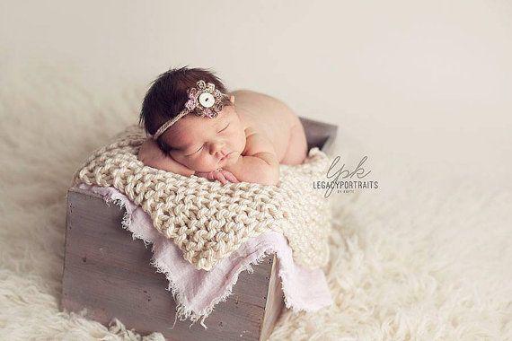 Newborn Photography Prop Blanket cream knit newborn basket bucket bowl filler stuffer
