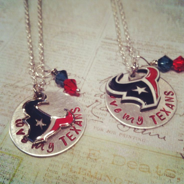 Love My Texans Houston Texans Hand Stamped Metal Necklace. $25.00, via Etsy.