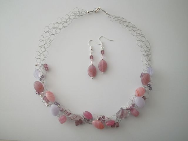 Czech Glass Necklace & Earrings by JoTheGreek on Etsy.
