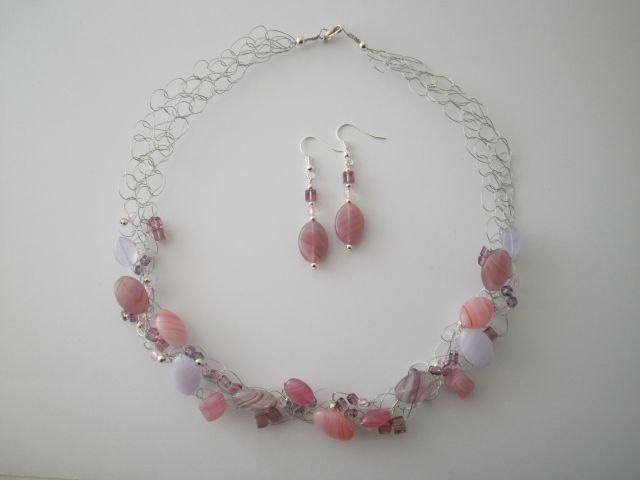 Czech Glass Necklace & Earrings by JoTheGreek on Etsy.